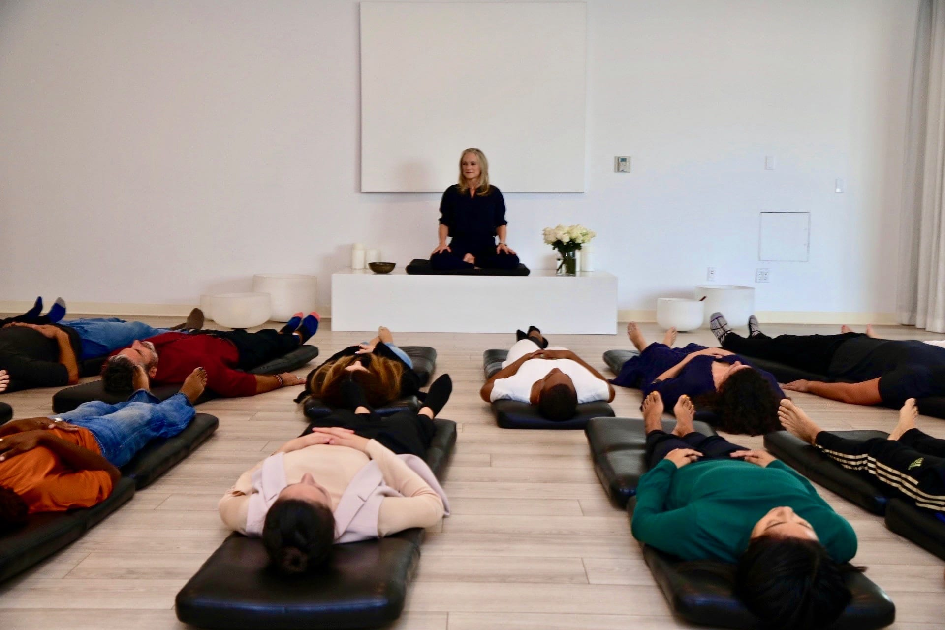 Heather Hayward is leading a guided meditation session